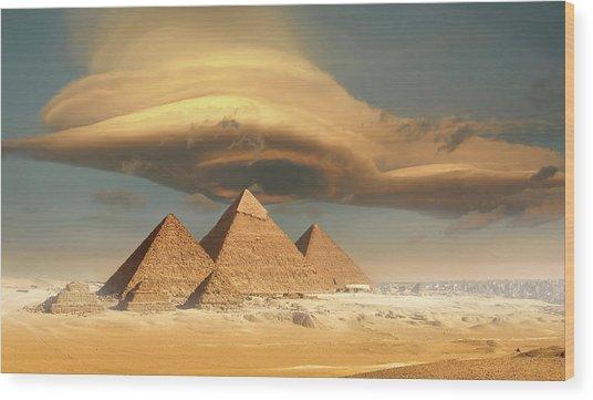 Dramatic Storm Cloud Above Pyramids Wood Print by Jimpix