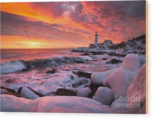Dramatic Winter Sunrise At Portland Head Light Wood Print
