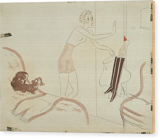 Drawing Of A Woman In A Girdle Reaching For Boots Wood Print by Eduardo Garcia Benito