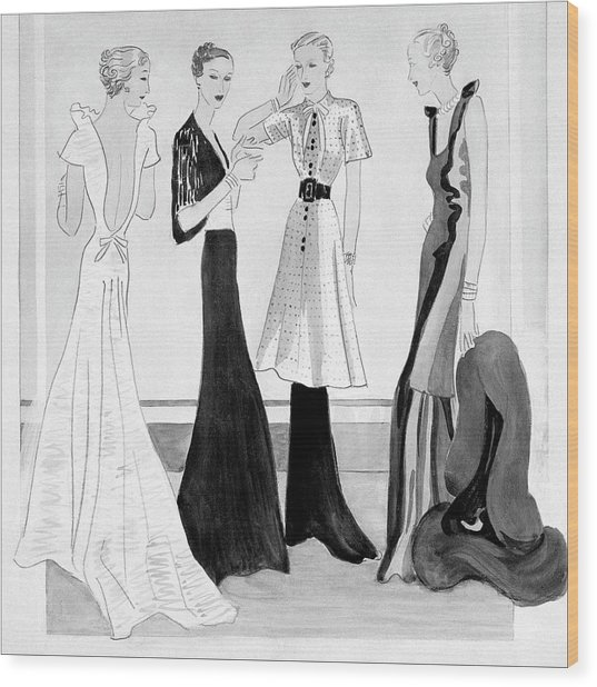 Drawing Of Four Well-dressed Women Wood Print by Eduardo Garcia Benito