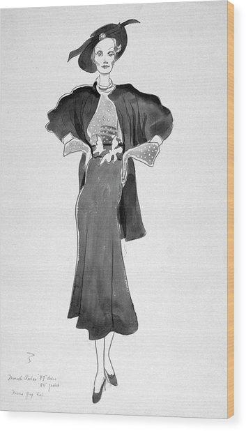 Drawing Of Model Wearing Marcel Rochas Dress Wood Print by Cecil Beaton