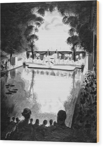 Drawing Of The Gala Blanc At The Fauchier-magnan Wood Print by Jean Pages