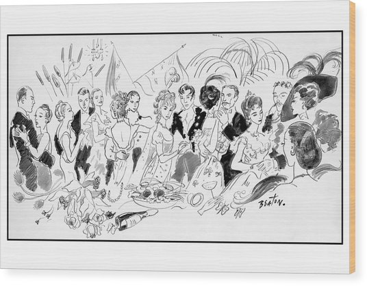 Drawing Of The London Society Dancing Night Away Wood Print by Cecil Beaton