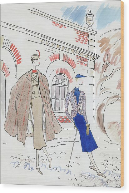 Drawing Of Two Women In Tweed Outfits Wood Print
