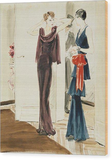 Drawing Of Two Women Wearing Mainbocher Dresses Wood Print by Rene Bouet-Willaumez
