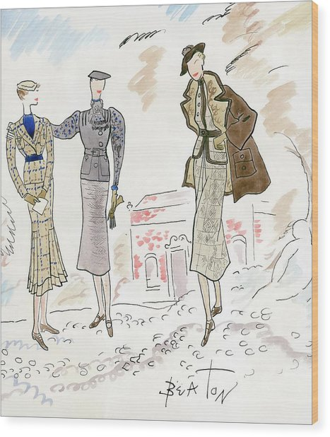 Drawing Of Women In Stylish Designer Outfits Wood Print by Cecil Beaton