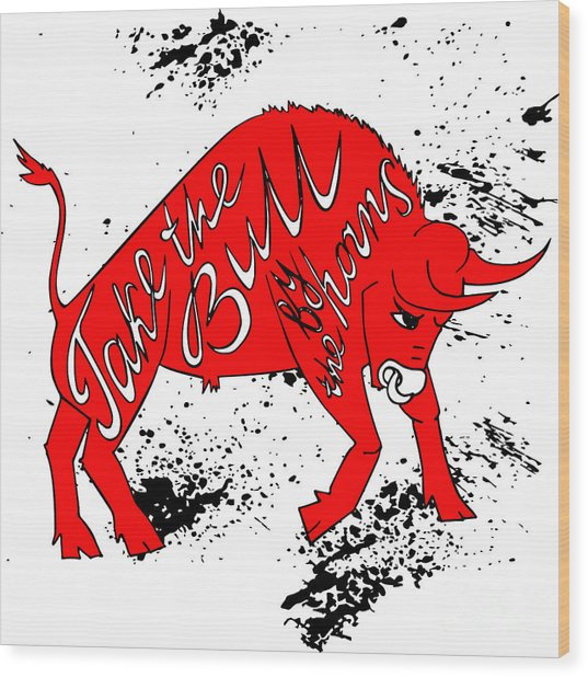 Drawing Red Angry Bull On The Grunge Wood Print by Ana Babii