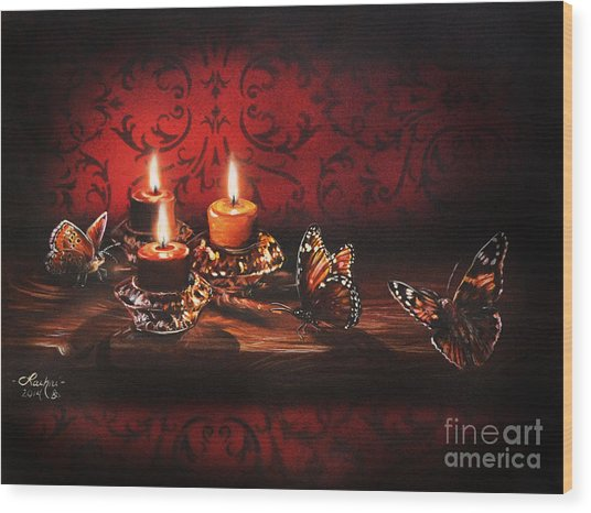 Drawn To The Flame Wood Print