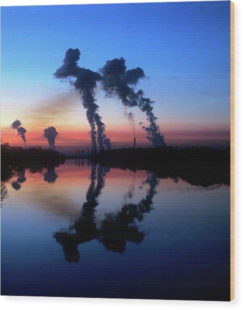 Drax Coal-fired Power Station Wood Print by Martin Bond