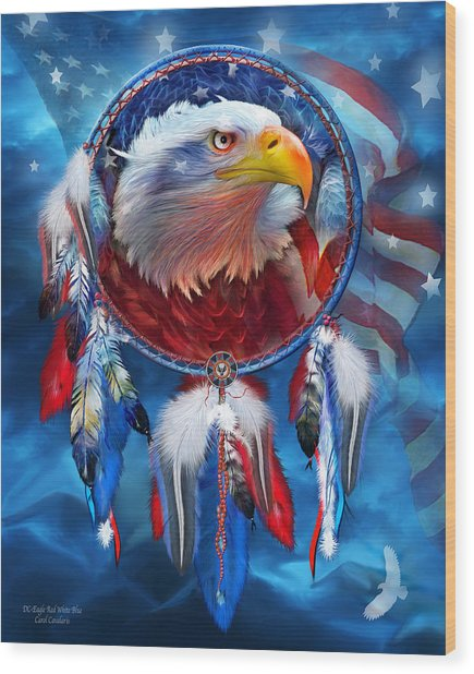 Dream Catcher - Eagle Red White Blue Wood Print