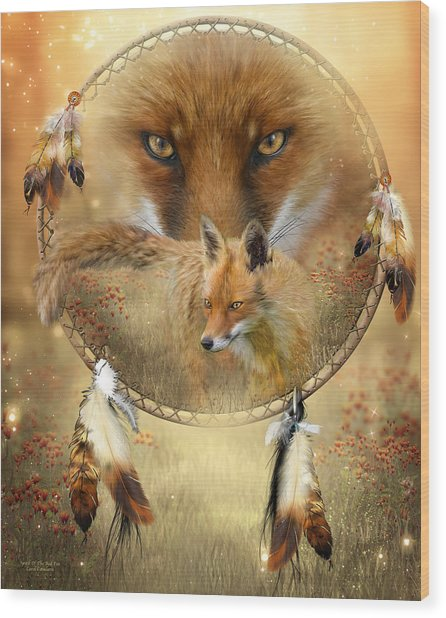 Wood Print featuring the painting Dream Catcher- Spirit Of The Red Fox by Carol Cavalaris