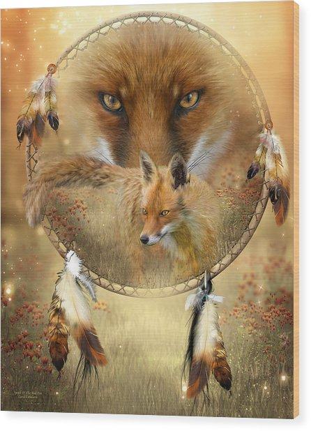 Dream Catcher- Spirit Of The Red Fox Wood Print