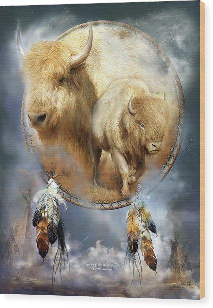 Dream Catcher - Spirit Of The White Buffalo Wood Print