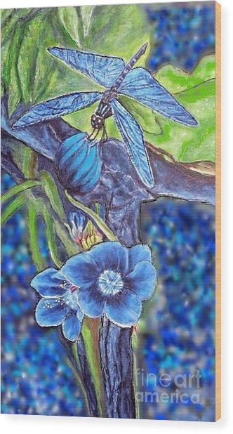 Dream Of A Blue Dragonfly Over Water Wood Print