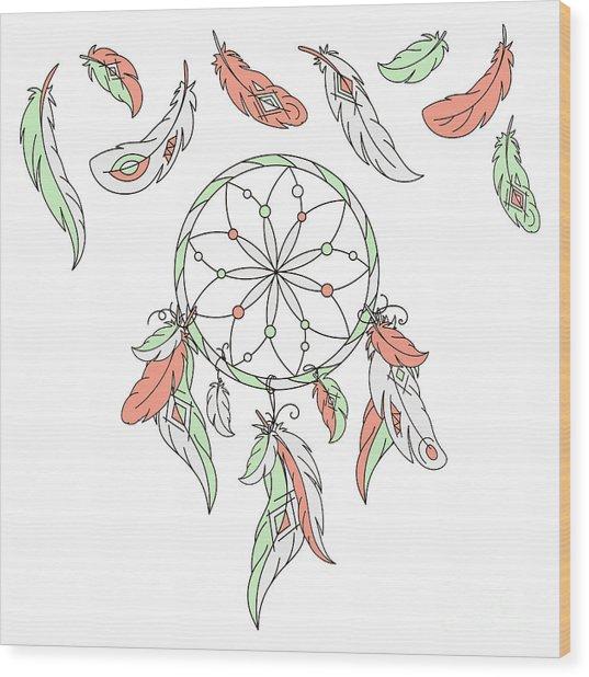 Dreamcatcher, Feathers. Vector Wood Print