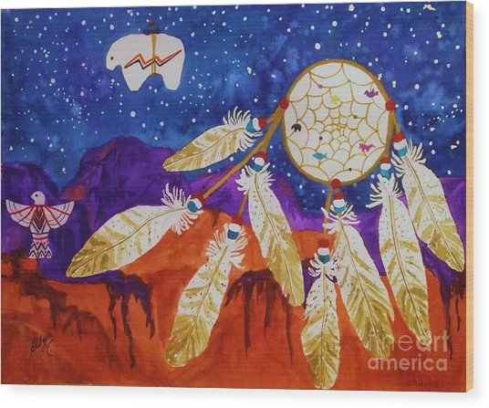 Dreamcatcher Over The Mesas Wood Print