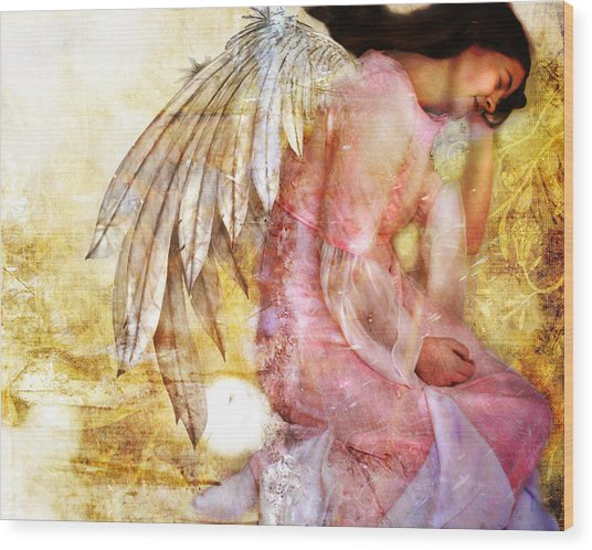Dreaming Angel Wood Print