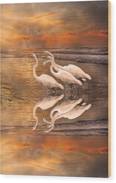 Dreaming Of Egrets By The Sea Reflection Wood Print