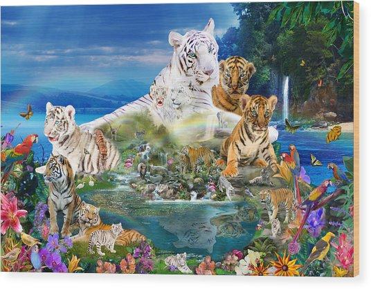 Dreaming Of Tigers  Variation  Wood Print