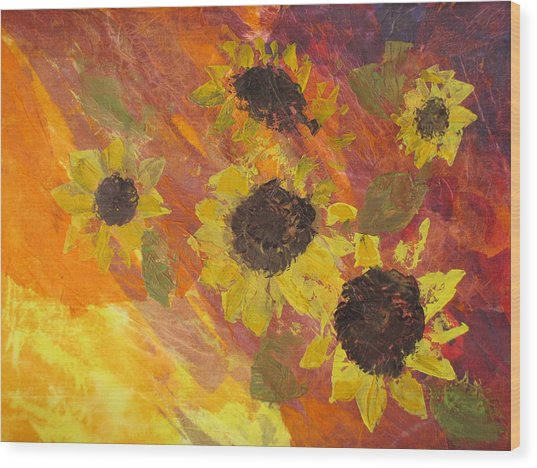 Dreaming Sunflowers Wood Print