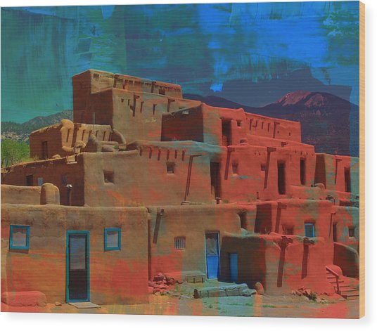 Wood Print featuring the mixed media Dreams Of Taos by Michelle Dallocchio