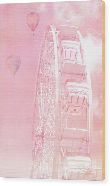 Dreamy Baby Pink Ferris Wheel Carnival Art With Hot Air Balloons Wood Print
