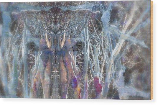 Dreamy Blue Up-dog Yoga Art Wood Print