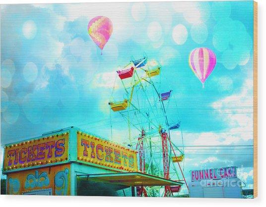 Dreamy Carnival Ferris Wheel Ticket Booth Hot Air Balloons Teal Aquamarine Blue Festival Fair Rides Wood Print