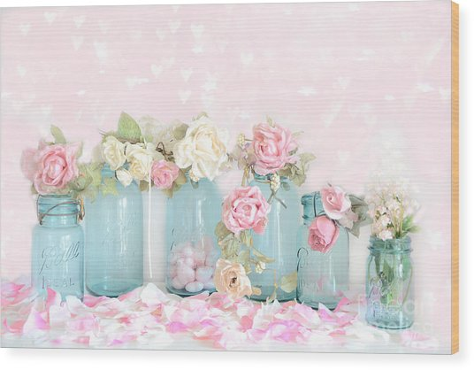 Dreamy Shabby Chic Pink White Roses  - Vintage Aqua Teal Ball Jars Romantic Floral Roses  Wood Print