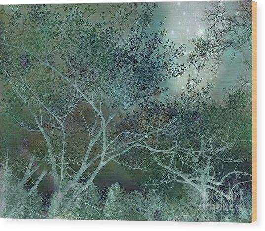 Dreamy Surreal Fantasy Teal Aqua Trees Nature  Wood Print