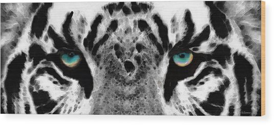 Dressed To Kill - White Tiger Art By Sharon Cummings Wood Print