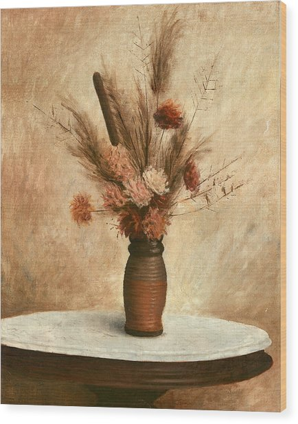 Dried Flower Arrangement Wood Print