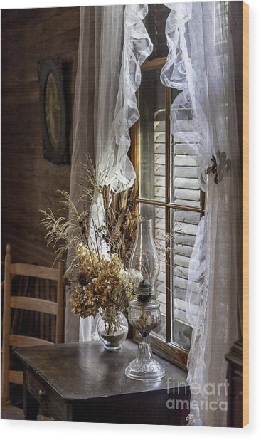 Dried Flowers And Oil Lamp Still Life Wood Print by Lynn Palmer