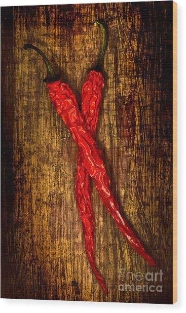 Dried Pepperoni Wood Print by Shawn Hempel
