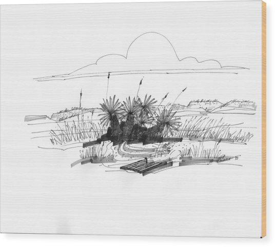 Drift Wood And Yucca Plants Wood Print