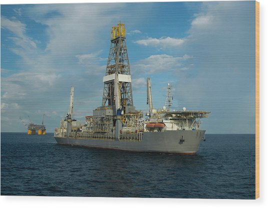 Drill Ship And Platform Wood Print