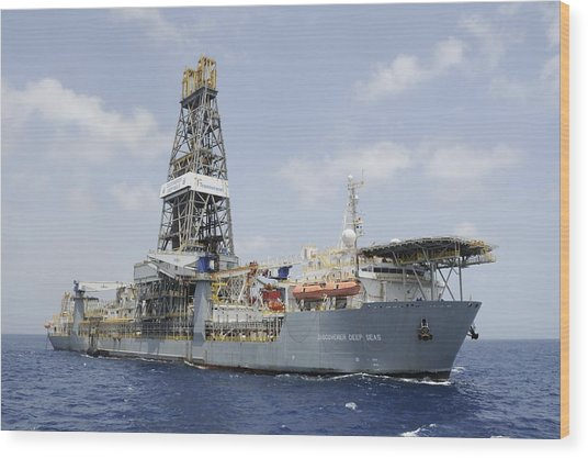 Drillship Discoverer Deep Seas Wood Print