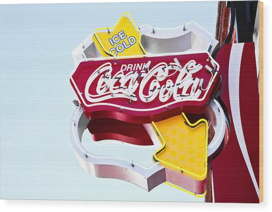 Drink Coca Cola Vintage Neon Sign Wood Print