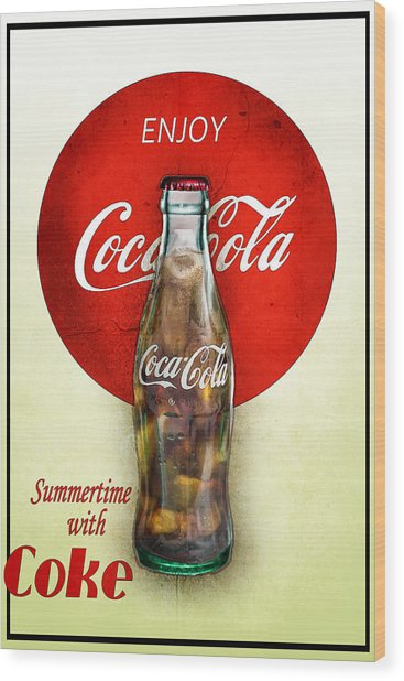 Wood Print featuring the photograph Drink Ice Cold Coke 2 by James Sage