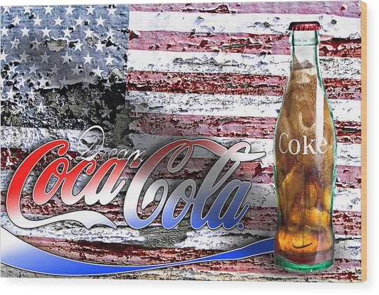 Wood Print featuring the photograph Drink Ice Cold Coke 6 by James Sage
