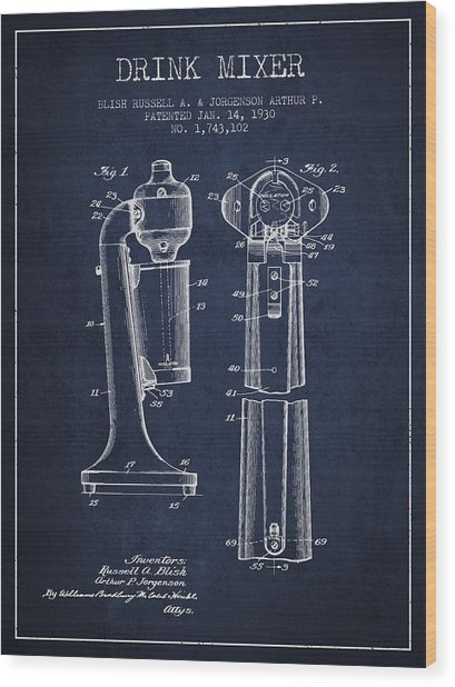 Drink Mixer Patent From 1930 - Navy Blue Wood Print