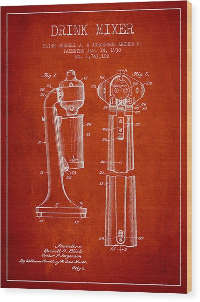 Drink Mixer Patent From 1930 - Red Wood Print