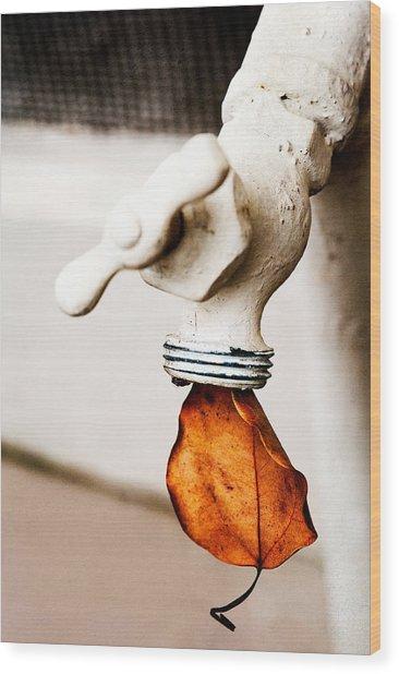 Drip Leaf Wood Print by Bobbi Feasel