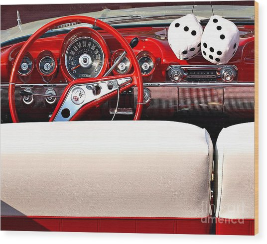 Drive-in Lounge - 1960 Chevy Wood Print