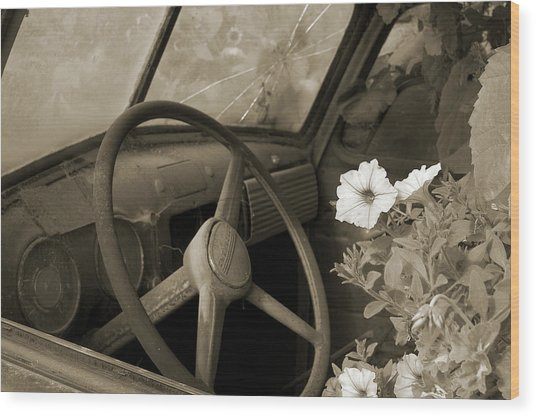 Driving Flowers Wood Print