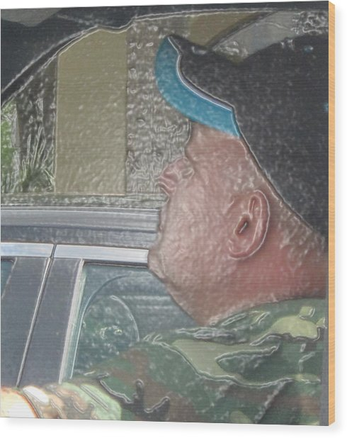 Driving Man Wood Print