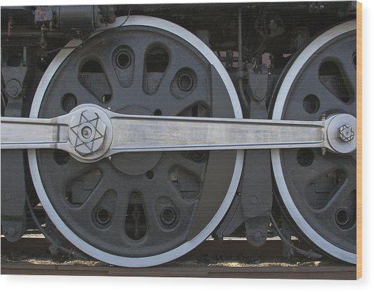Driving Wheel On Vintage Train Wood Print