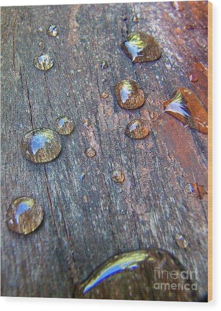Drops On Wood Wood Print