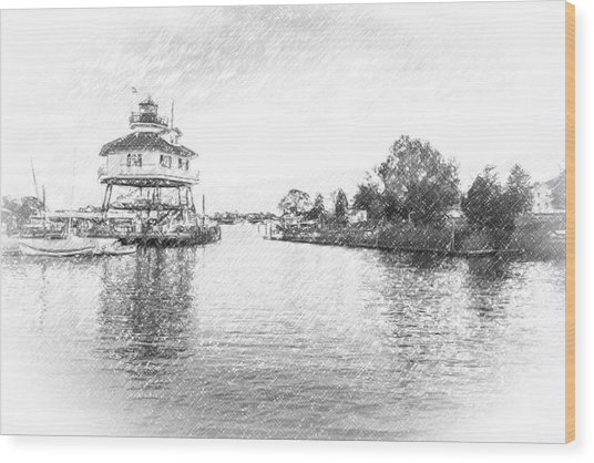 Drum Poiint Lighthouse Pencil Sketch Wood Print