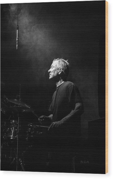 Drummer Portrait Of A Muscian Wood Print